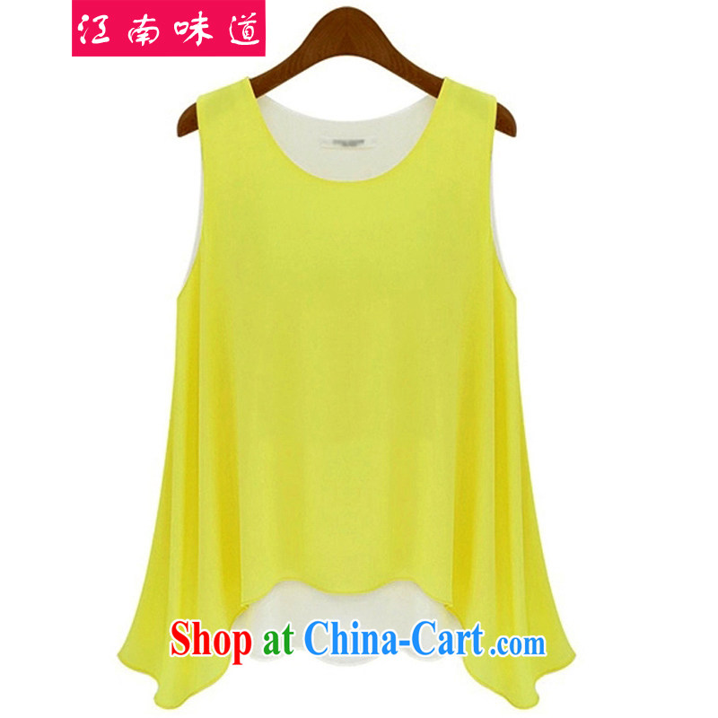 taste in Gangnam 2015 summer new thick mm maximum load is increased, female solid shirt snow woven shirts girls sleeveless vest wide graphics thin loose the T pension 58 yellow 4 XL recommendations 160 - 180 jack