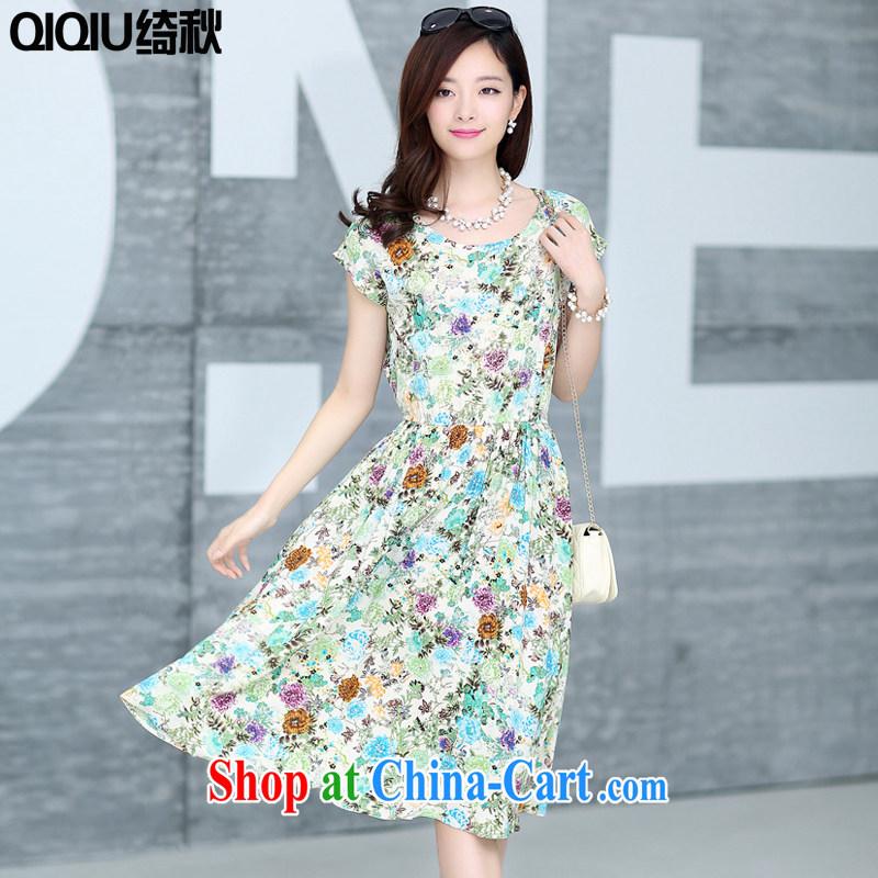 Chi-chiu-dresses summer 2015 new short-sleeved stamp skirt the beauty in long dresses summer Bauhinia XXXL