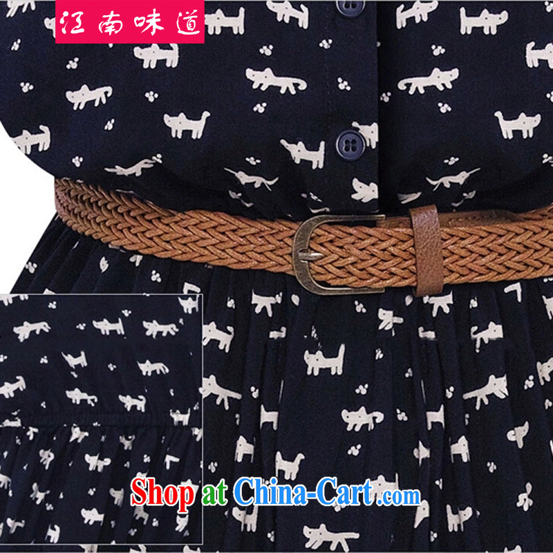 taste in Gangnam-gu 2015 summer mm thick larger women in Europe and bat sleeves stamp dress loose the fat XL solid skirt 171 dark blue 5 XL recommendations 180 - 200 jack, Gangnam-gu, taste, and shopping on the Internet