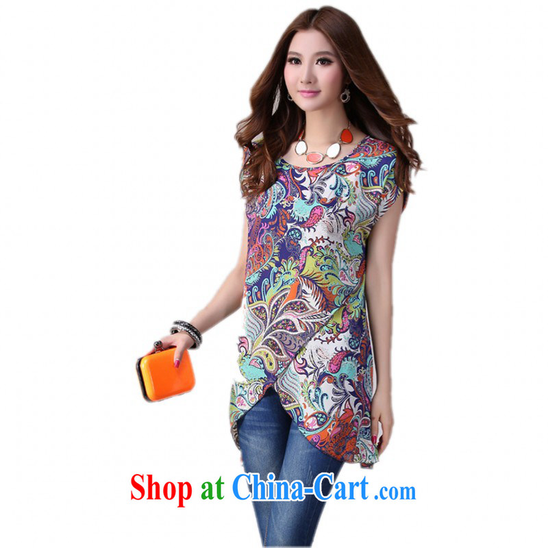 The delivery package as soon as possible by focusing on the younger sister, Stylish retro stamp snow woven shirts new summer OL ladies short-sleeved totem fancy shirt blue 3XL approximately 160 - 180 jack