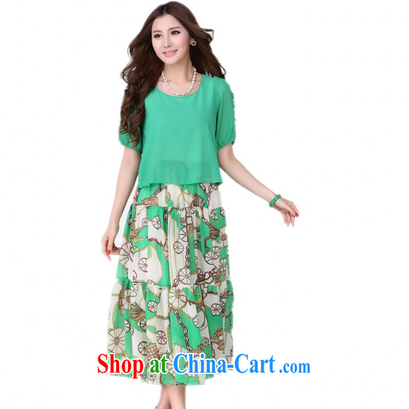 The delivery package as soon as possible by the hypertrophy, beach skirts new 2015 summer resort long skirt Roman style stamp snow woven dresses green 4 XL approximately 155 - 170 jack
