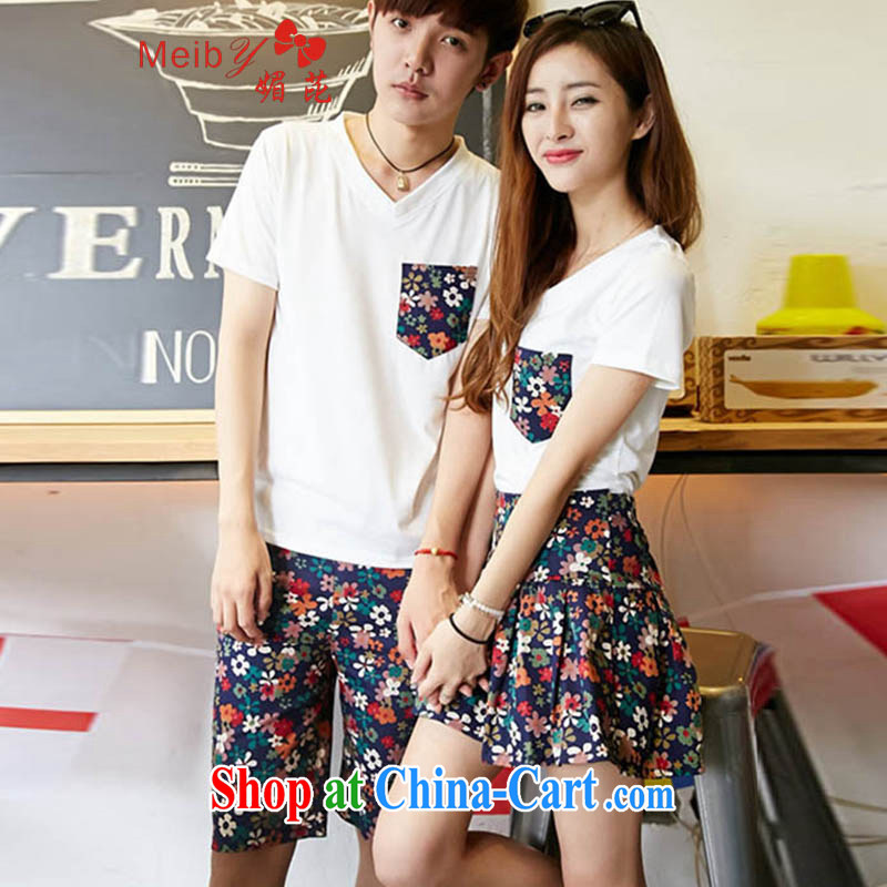 Be blackspots meiby summer new, larger female stylish 100 ground Korean couples with male and female floral couples shorts skirts cultivating short-sleeved T pension package 818 white package men S