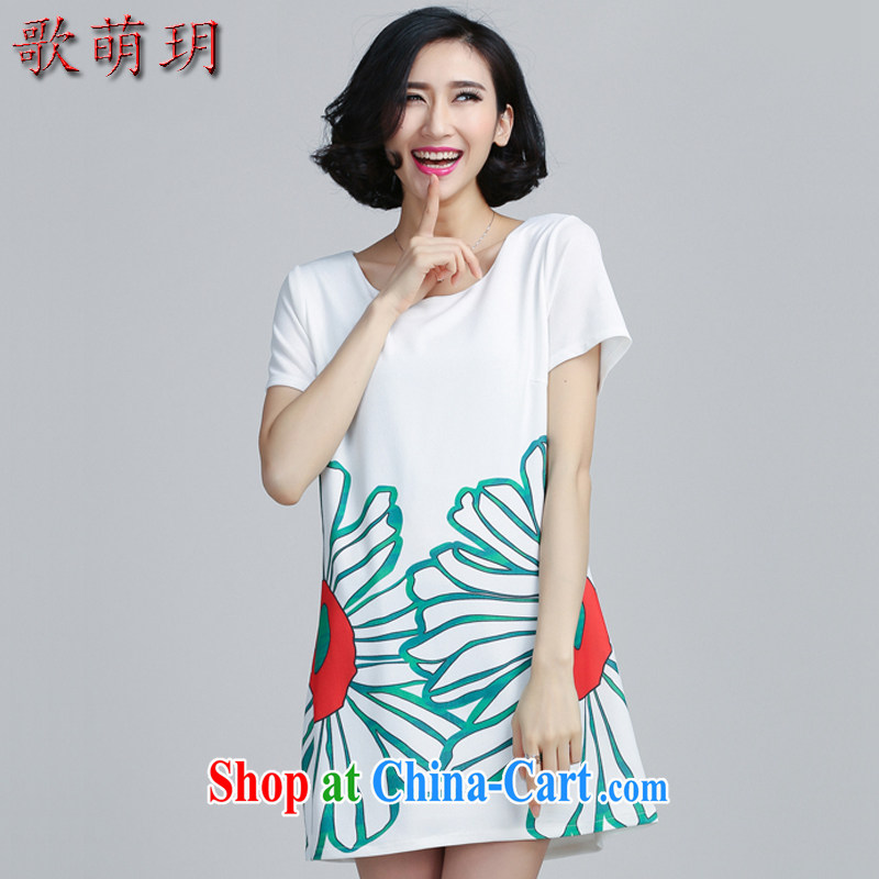 Song Meng Yin Yue XL female 2015 summer new, thick MM graphics thin, long dresses Y 6051 white 5 XL (180 - 200 ) jack