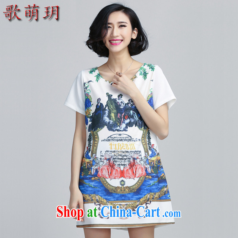 Song Meng Yin Yue XL female 2015 summer new graphics thin retro A field skirt dresses Y 6036 white 2XL (135 - 150 ) jack