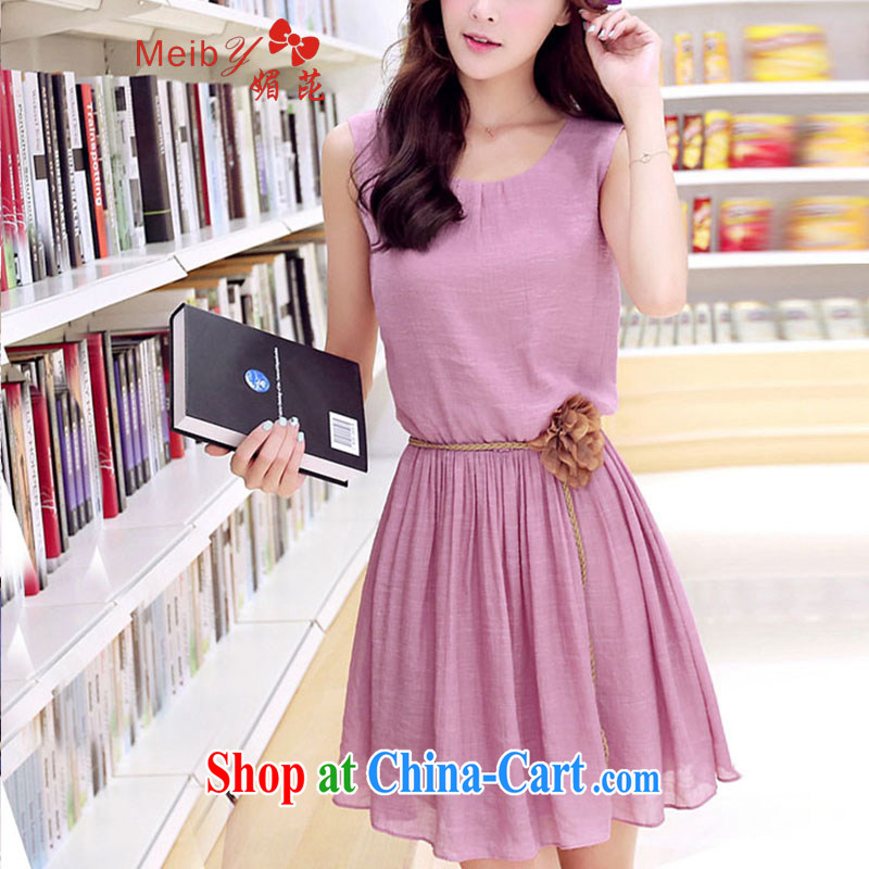 Be blackspots Meiby 2015 spring and summer new dresses Korean Beauty sleeveless small fresh dresses cotton in the long 8702 pink XXL the belt