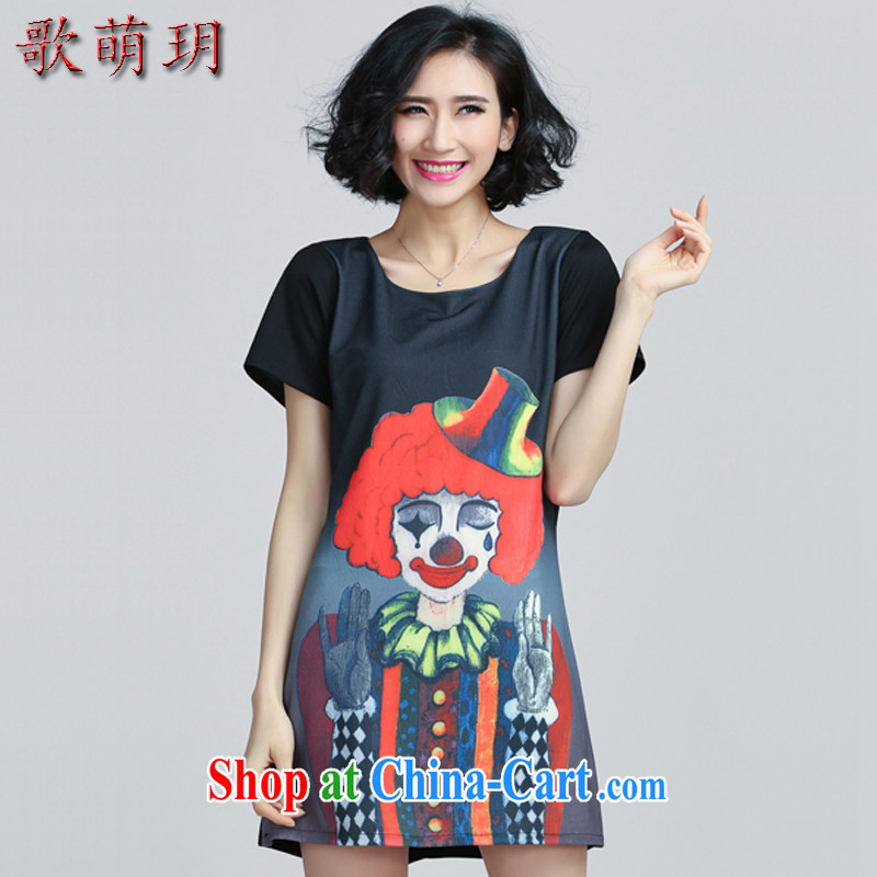 Song Meng Yin Yue XL women's clothing 2015 summer new thick MM graphics thin A field skirt dresses Y 6031 black 5 XL (180 - 200 ) jack