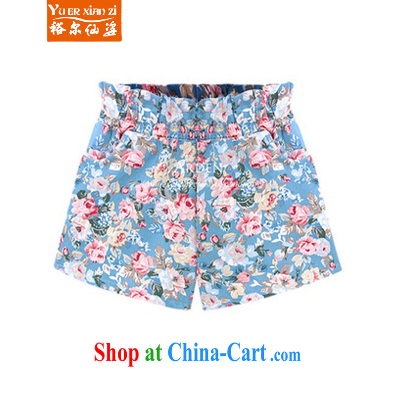 Yu's Sin City 2015 spring and summer with new, larger ladies Elasticated waist and stylish floral hot pants L 869 blue 5 XL