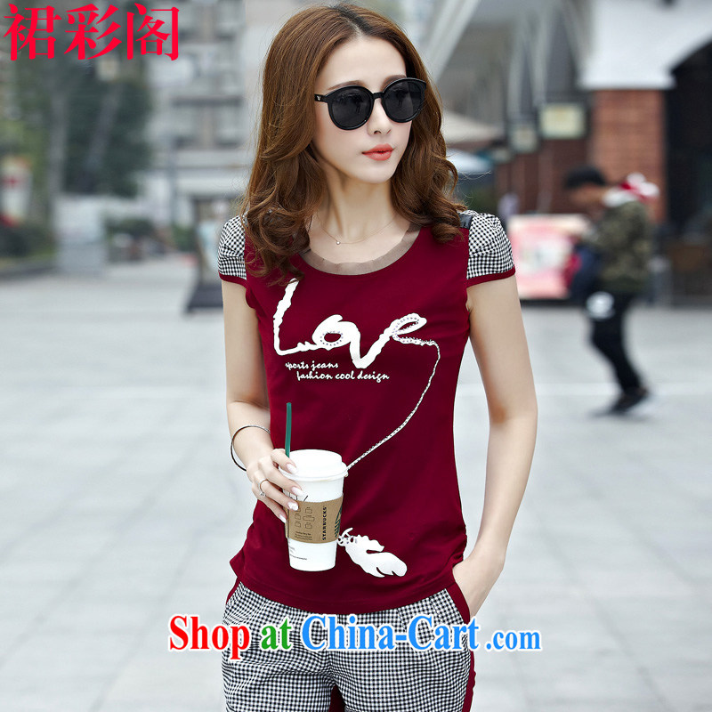 Skirt Color cabinet loose short sleeve T-shirts 7 pants sport and leisure Package Women 3858 wine red M