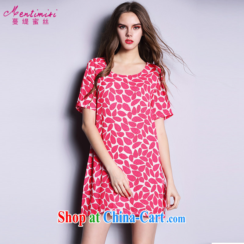 Mephidross economy honey, 2015 summer new XL female Korean thick MM leaves stamp dresses 2626 big red code 5 XL 200 Jack left and right