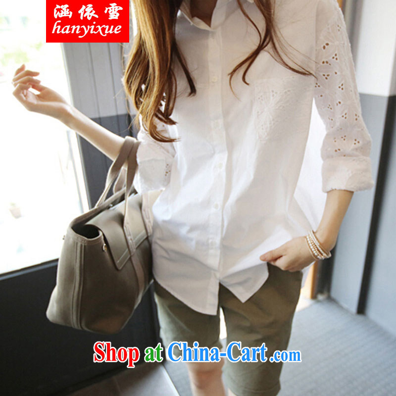 covered by snow in accordance with 2015 new Korean summer and indeed increase, female loose shirt thick MM 200 Jack video thin shirt sunscreen white XXXL 165 - 200