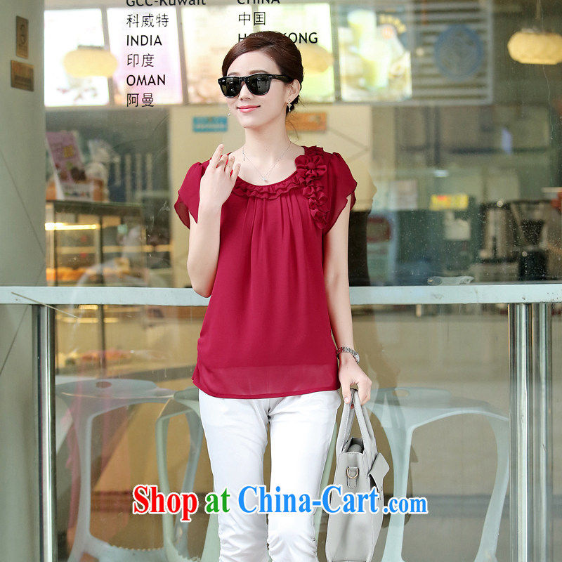 Arrogant season 2015 spring new larger women with a 30 - 40-year-old mother with long-sleeved snow woven shirts female middle-aged T shirt lace T-shirt maroon XXL