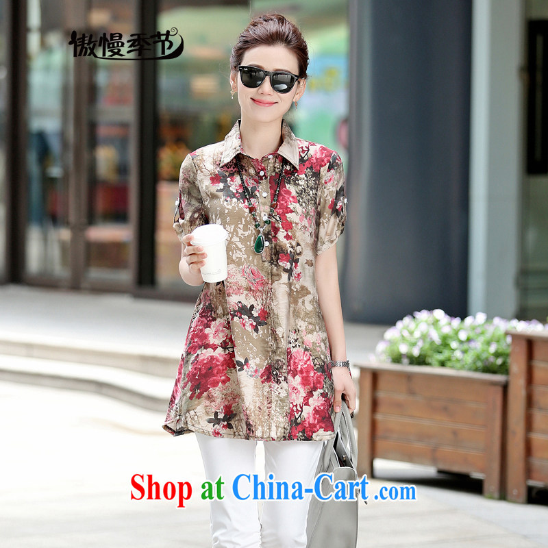 Arrogant season 2015 middle-aged and older female summer new XL cotton shirt graphics thin middle-aged mother with fancy, long T-shirt girl saffron XXXL