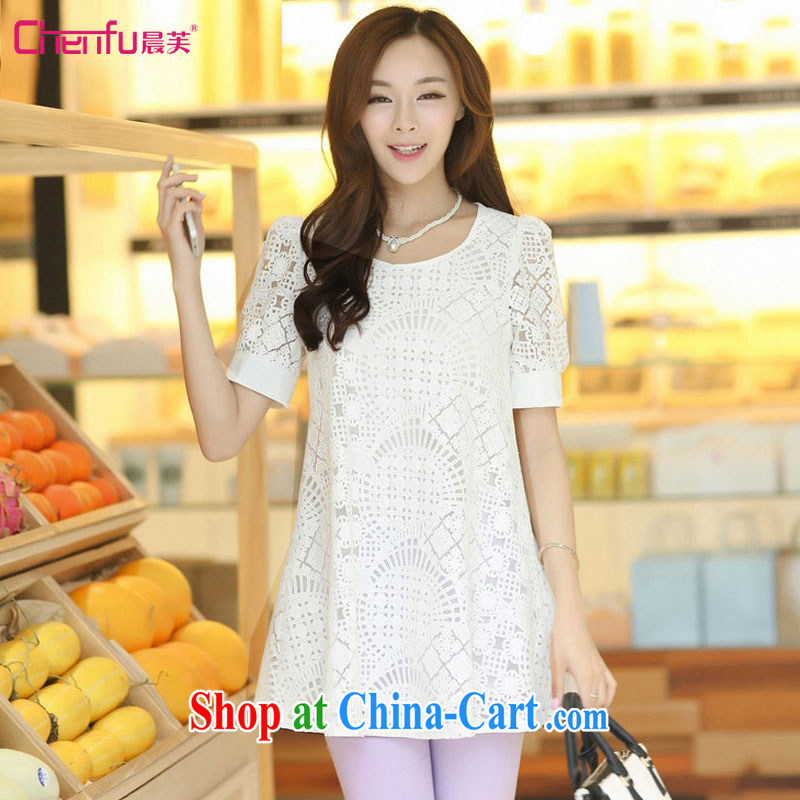 Morning would be 2015 summer new Korea and indeed XL women mm thick stylish 100 ground graphics thin, long Openwork lace stitching T shirt T-shirt white 3XL