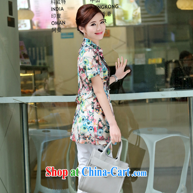 Arrogant season summer 2015 new, middle-aged and older fancy shirt female short-sleeved larger middle-aged shirt jacket green XXXL