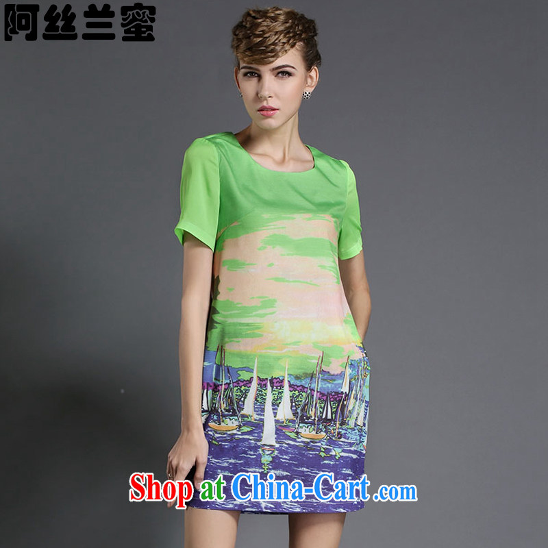The silk, honey XL girls thick MM graphics thin summer color stamp beauty dresses ZZ 1836 green 2 XL _135 jack - 149 Jack through_