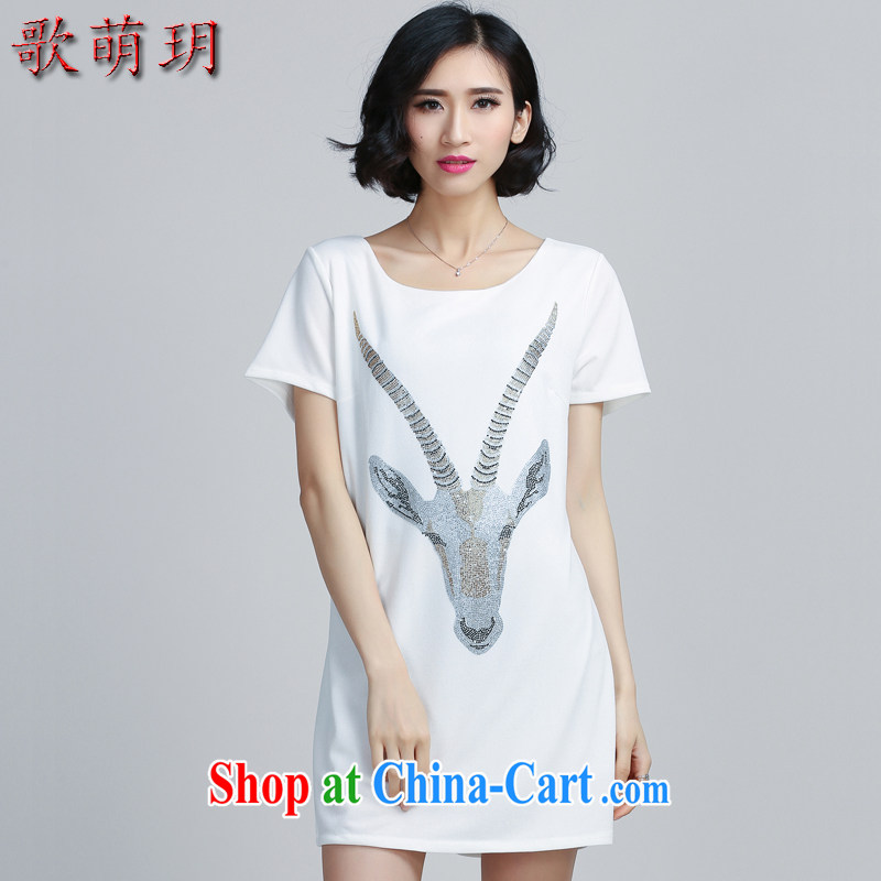 Song Meng Yin Yue XL female 2015 summer load new hot drill video thin dresses Y 6068 white 4XL (165 - 180 ) jack