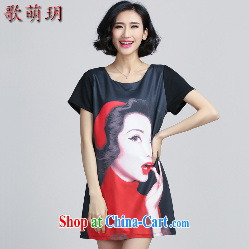 Song Meng Yin Yue XL female 2015 Summer Load New silhouette stamp loose video thin dresses Y 6066 black 5 XL _180 - 200 _ jack