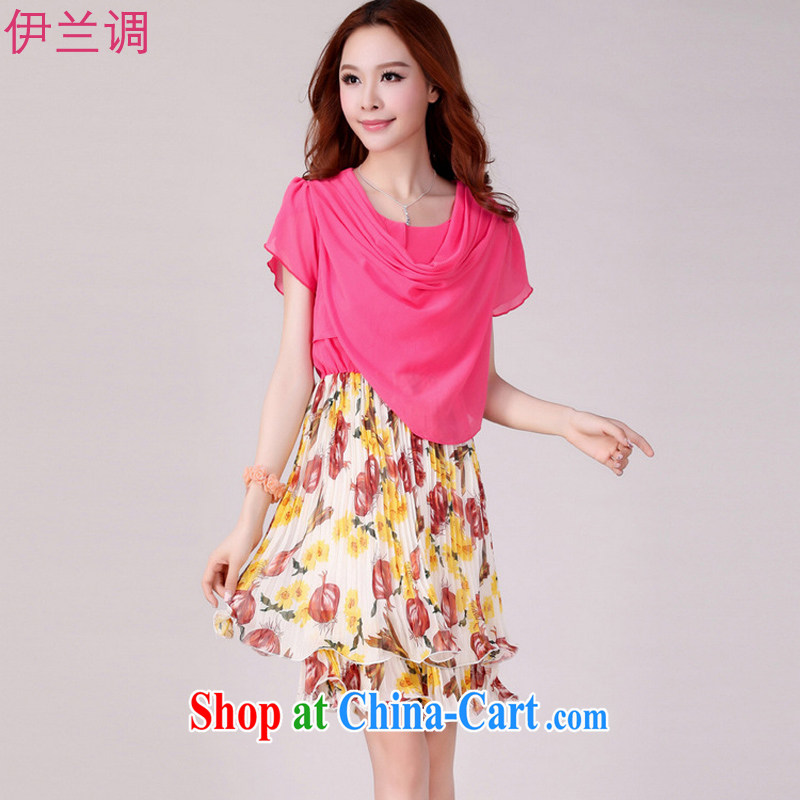 Iraq, the 2015 summer new, larger female dresses Summer Snow woven short-sleeved stacks thick mm thick sister 2107 rose red XL