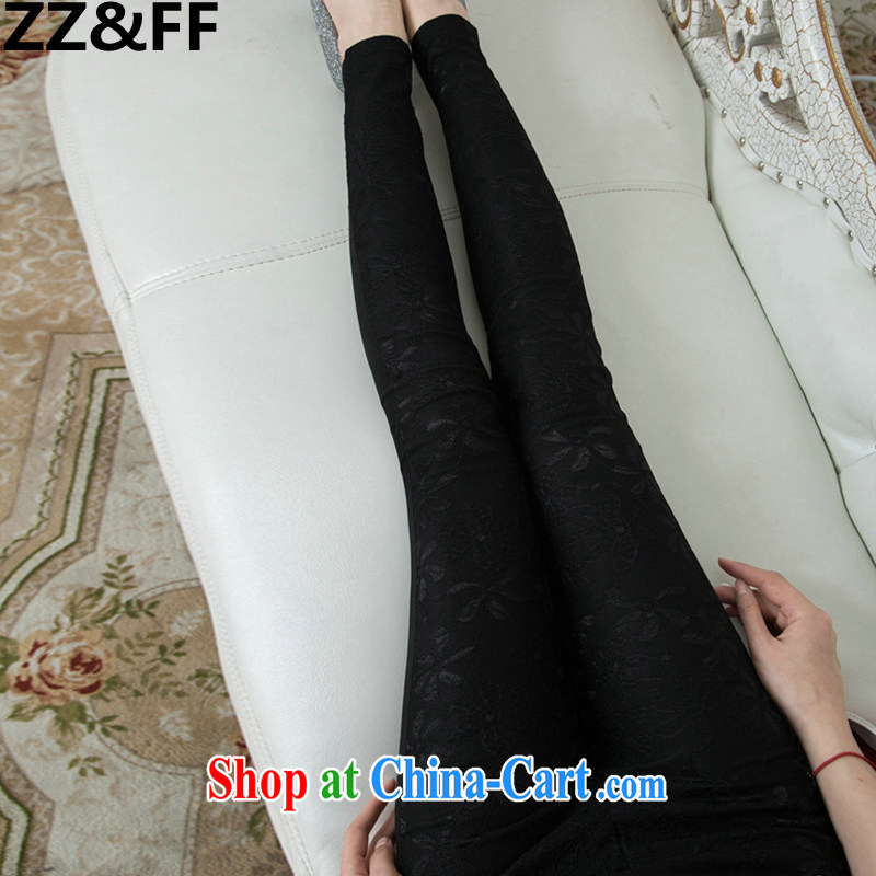 ZZ &FF 2015 spring and summer new paragraph lace trousers XL thick MM spring Beauty Salon female solid black pants XXXL (165 - 200 ) jack