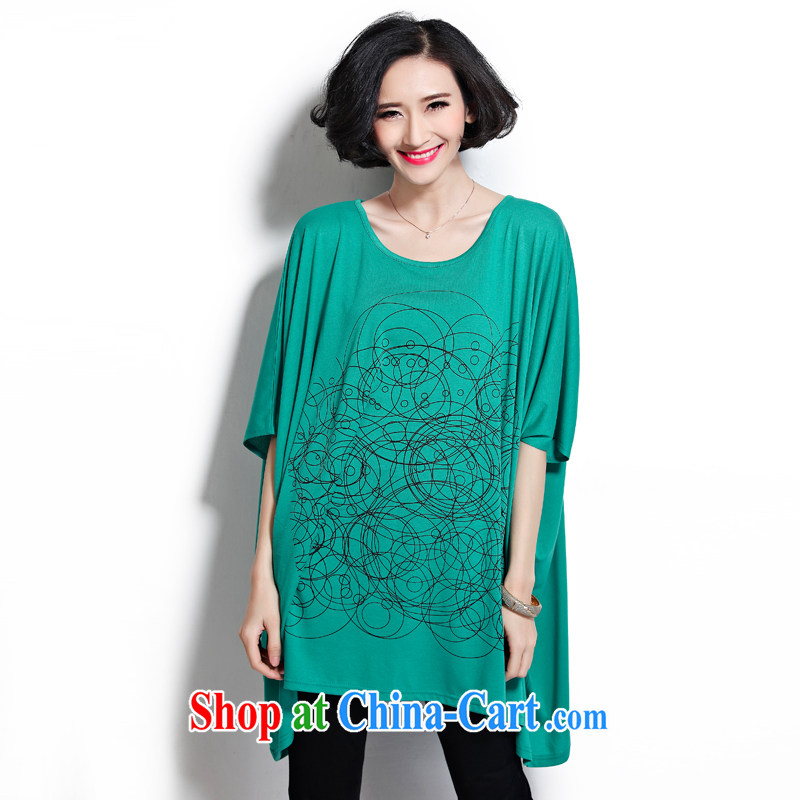 0427 D hot large code female thick MM summer T-shirt loose bat T-shirt thick clothes, short-sleeved T-shirt girls green are code