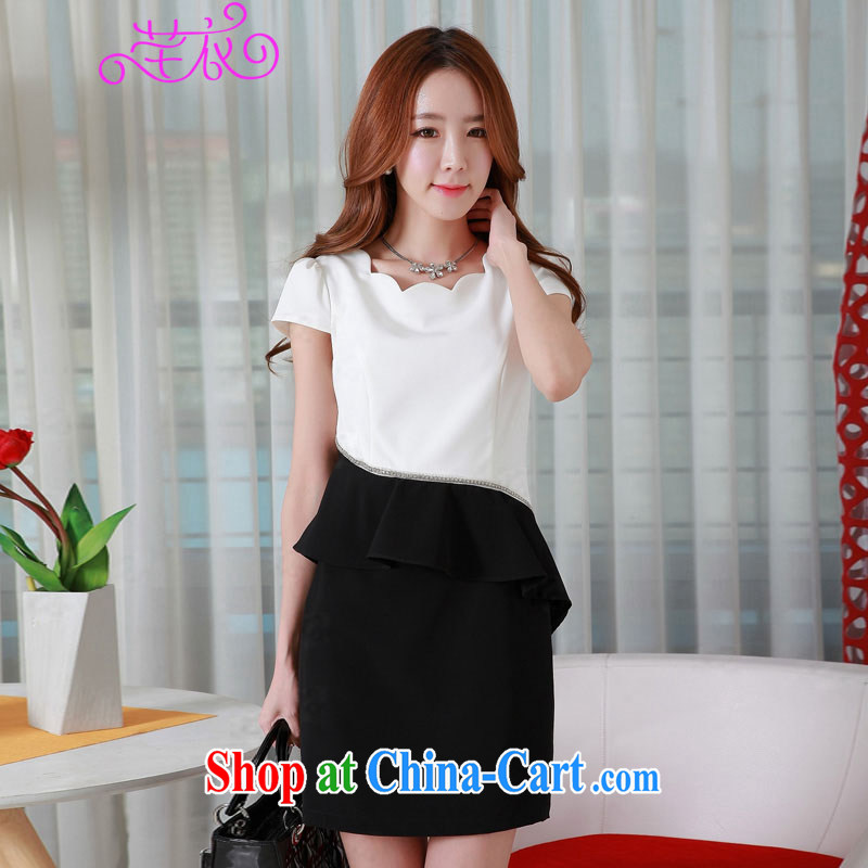 Constitution summer clothing new 2015 thick sister women's clothing only the petal collar waist section flouncing flash drill dotted with elegant graphics thin style dress XL ladies black skirt M