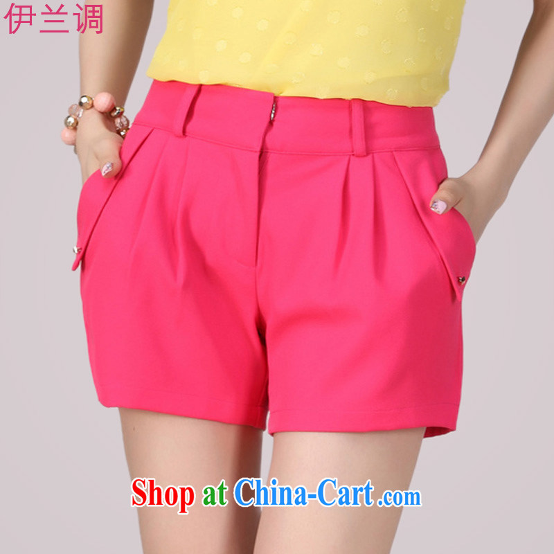 Iraq, the 2015 summer new, larger female shorts hot pants thick mm video thin Korean summer summer, thick sister solid color 2148 rose red XXXXL