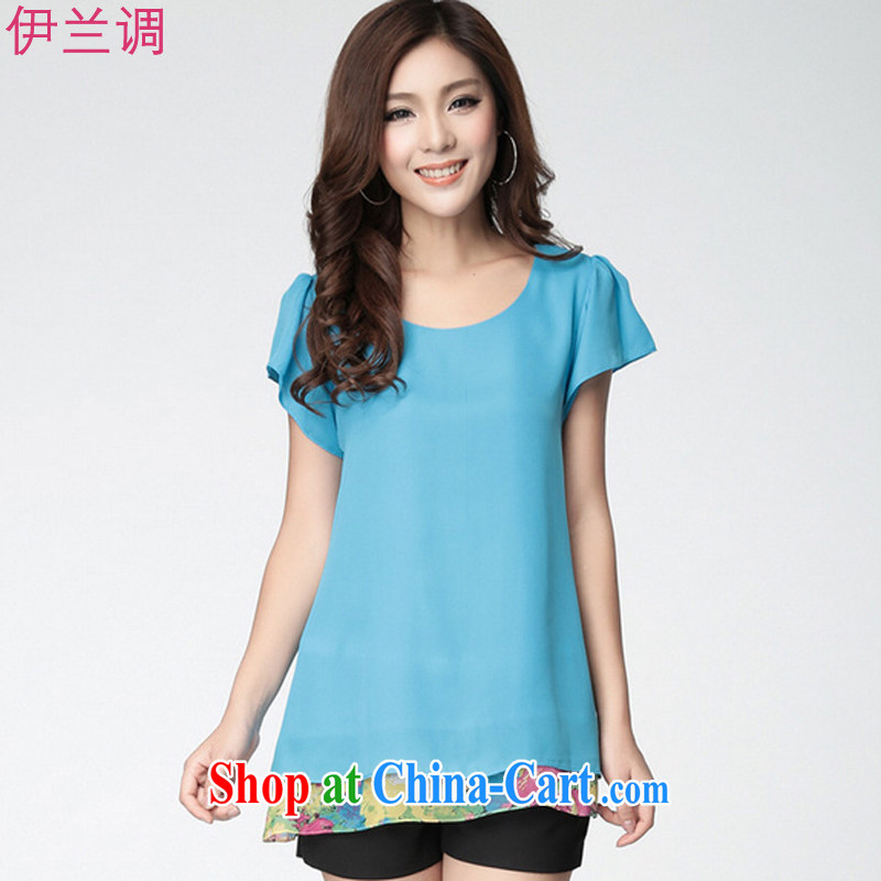 Iraq, the 2015 summer, the Korean version of the greater code female snow woven shirts T shirt short-sleeved thick MM, loose thick sister summer 2178 blue XXXXL
