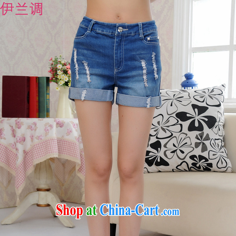 Iraq, the 2015 summer new XL ladies' pants hot pants elastic stretch Ms. mm thick the obese sister 2171 blue XXXXL