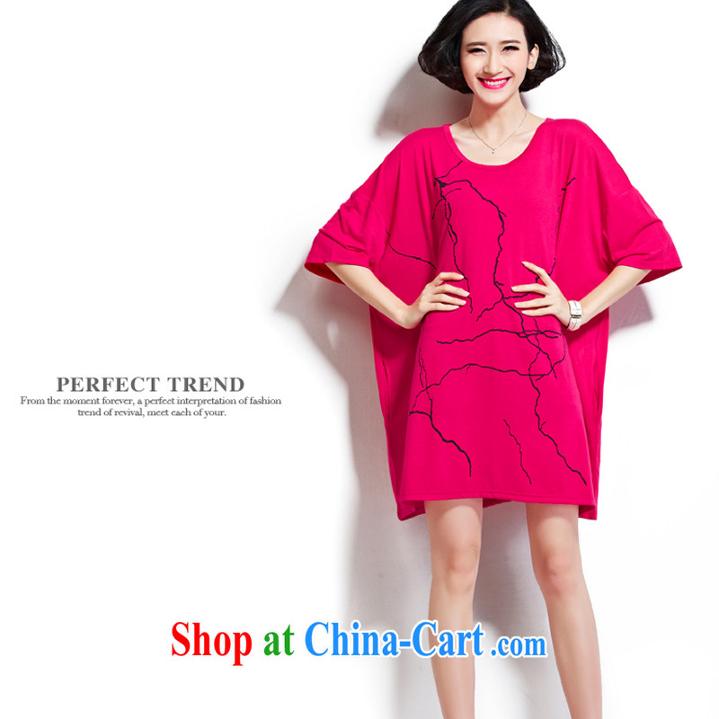 D 0426 KING SIZE, female fat sister 200 Jack summer the ventricular hypertrophy, round-collar short-sleeve cotton T shirt New Red