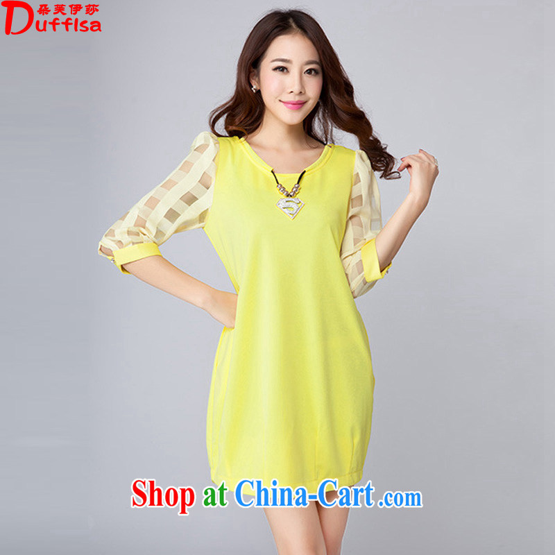 flower girl Isabelle 2015 summer new Korean version the Code women with stylish Solid Color 7 cuffs loose video thin dresses female D 1665 yellow 4 XL