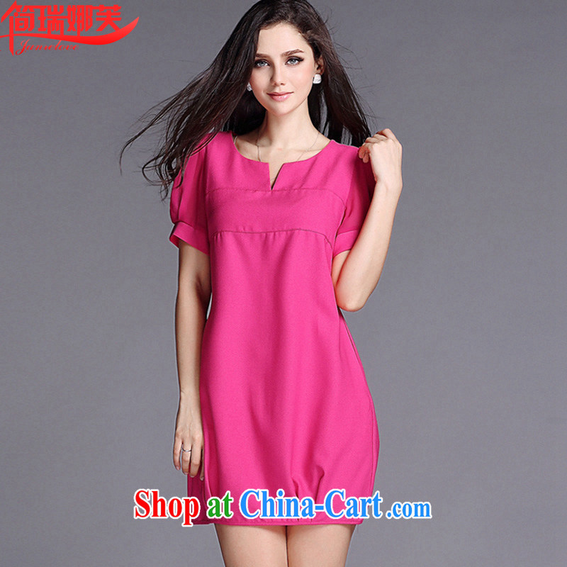 In short, will be the 2015 summer new Korean simple yet elegant larger graphics thin beauty short-sleeved thick mm dresses female J 779 by red 4 XL