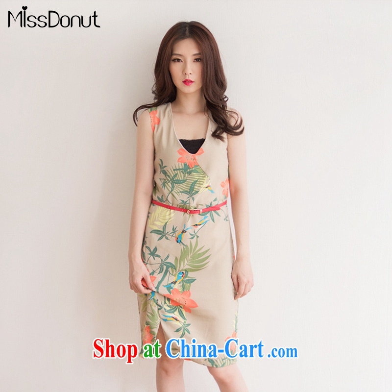 The MissDonut is indeed increasing, female snow woven dresses thick sister summer long skirt mm thick straps sleeveless vest skirt khaki-colored large code L