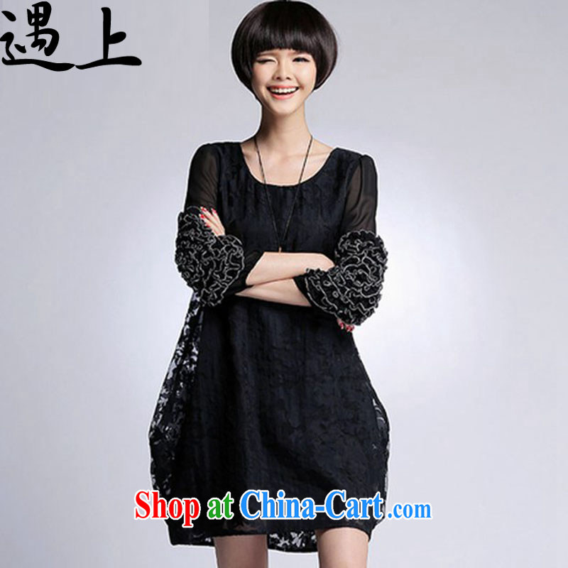 In the 2015 spring and summer new thick MM aura fashion, long, women with extra-large, the root yarn jacquard dress - 6804 black 4XL