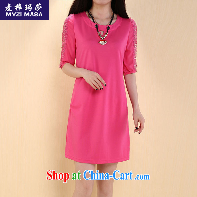 Mr Miller Martha 2015 summer larger thick sister graphics thin Openwork short-sleeved loose dress of red XXXL