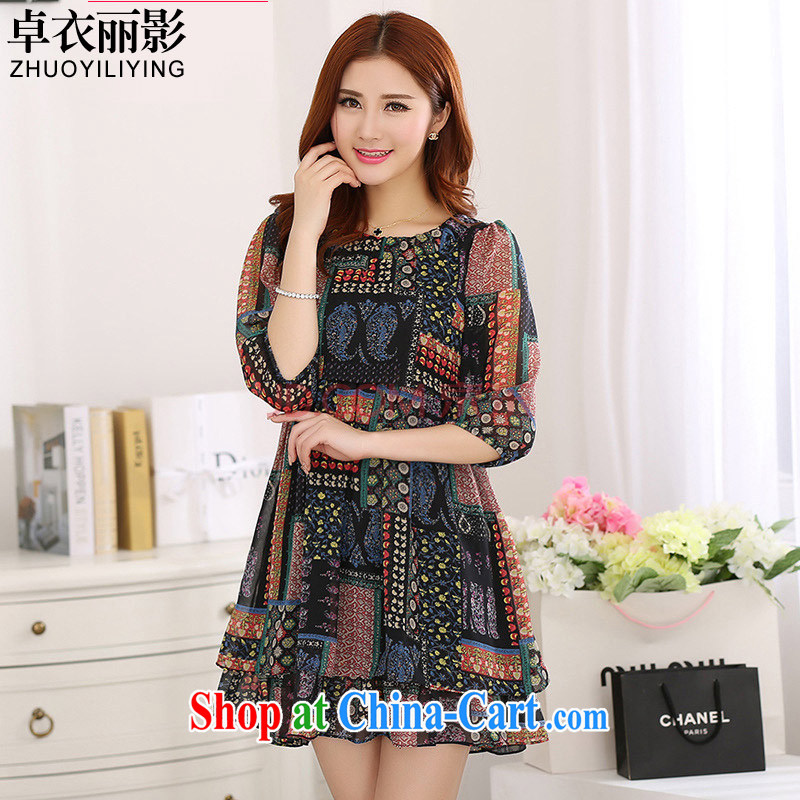Cheuk-yan Yi Lai film 2015 summer New, and indeed increase, female elegant retro loose video thin 7 snow cuff woven stamp dresses YS 1192 black 4XL