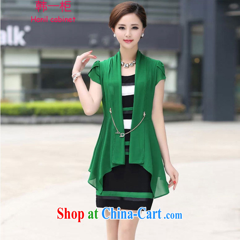 Korea, in a container 2015 summer larger female snow woven dresses middle-aged short-sleeved beauty graphics thin two-part kit H 77 green XL
