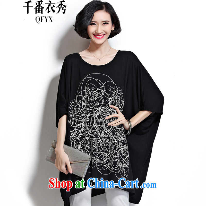 1000 double Yi Su-ha, short-sleeved large, female ultra-liberal 300 Jack thick mm leisure T pension ZM 7162 black large code are code