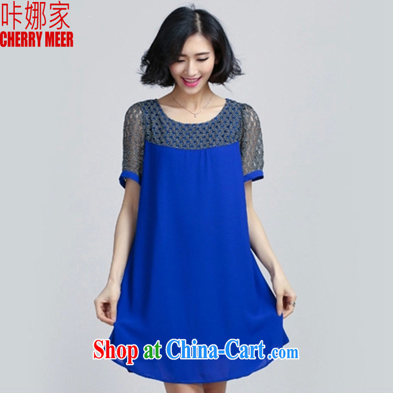 It's a 2015 Korean version of the new paragraph on summer in MM long lace stitching snow woven relaxed T pension maximum code female 061 blue XXL