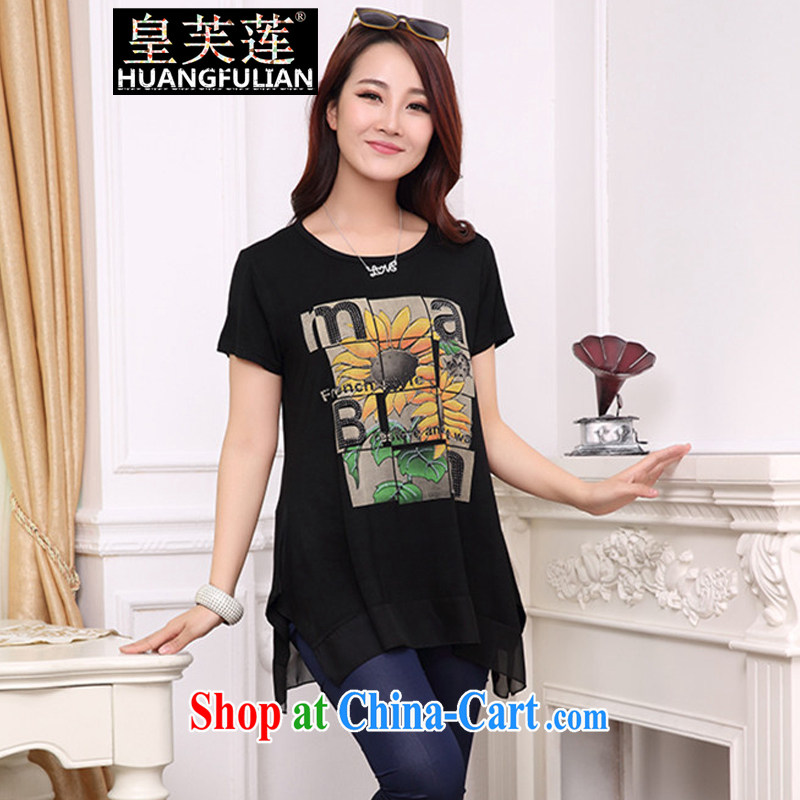 Not be Lin 2015 summer new Korean hot drill stamp duty and indeed increase, short-sleeved shirt T girl graphics thin loose thick MM stitching snow woven shirts small shirts female black XXL