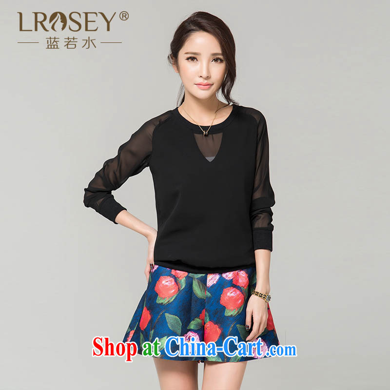 Blue Water XL women 2015 spring new thick MM solid shirt relaxed simplicity T shirts snow woven shirts 55,799 black large code XL