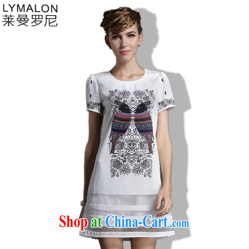 Lehman Ronnie lymalon fat people graphics thin summer 2015 mm thick 100 on board the code girl with the FAT and loose short-sleeve dresses 1838 white XXXL