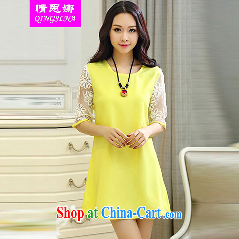 The love of summer 2015 new sweet thick MM stitching lace short sleeve large Code women's clothing dresses yellow XXXXL
