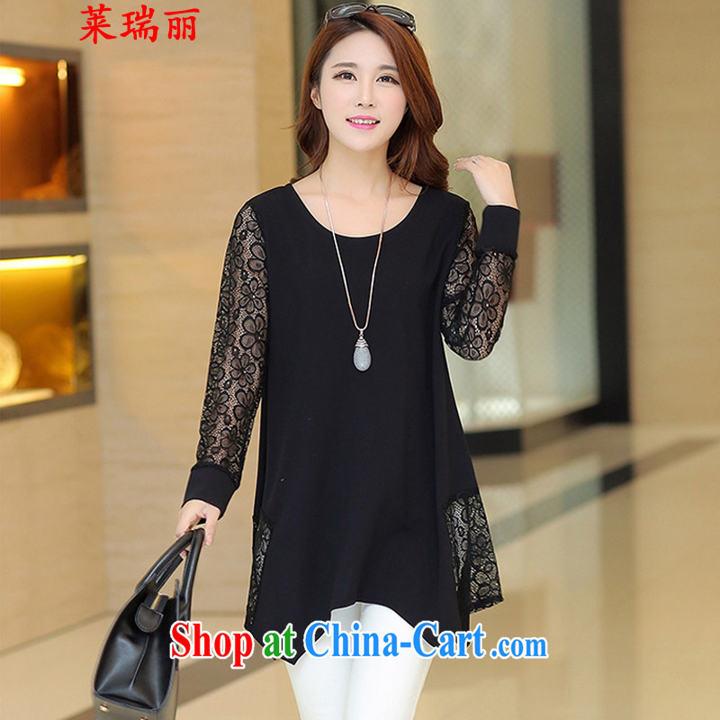 Mr. Ryan, Mrs 2015 summer new female Korean version of the greater number, long, solid T-shirt T-shirt lace stitching solid 6029 skirt black XXXXL