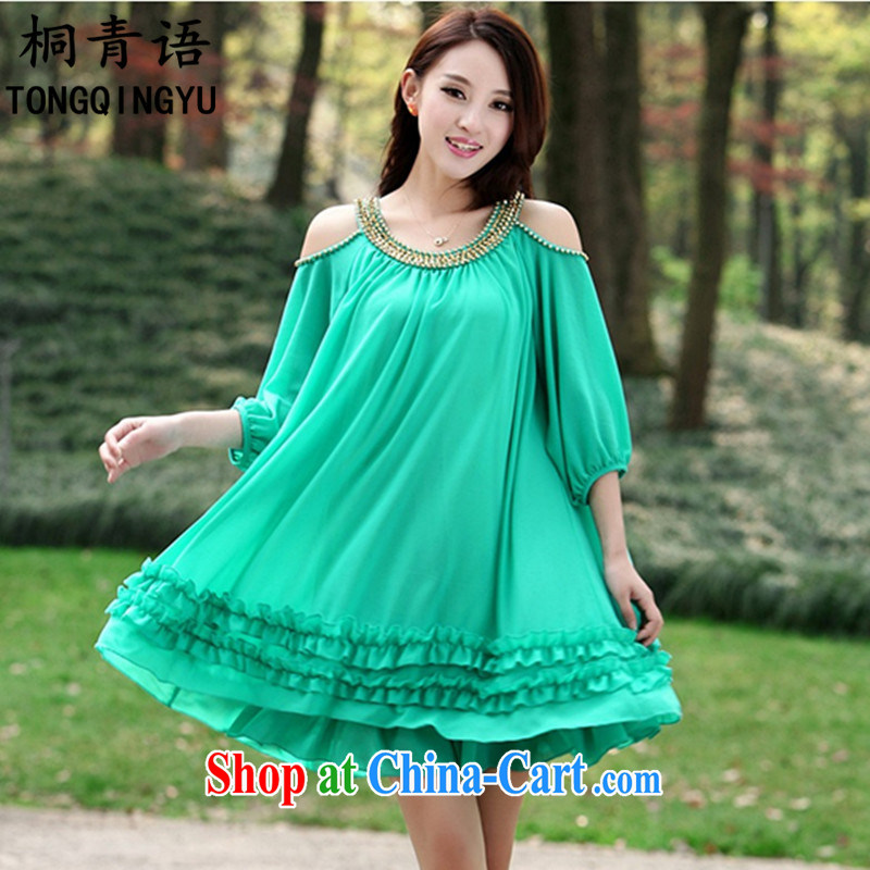The Zaytun Unit, summer 2015 stylish Korean version loose the fat increase female sexy bare shoulders in snow cuff woven 100 hem dresses S 2537 _blue-green 4 XL