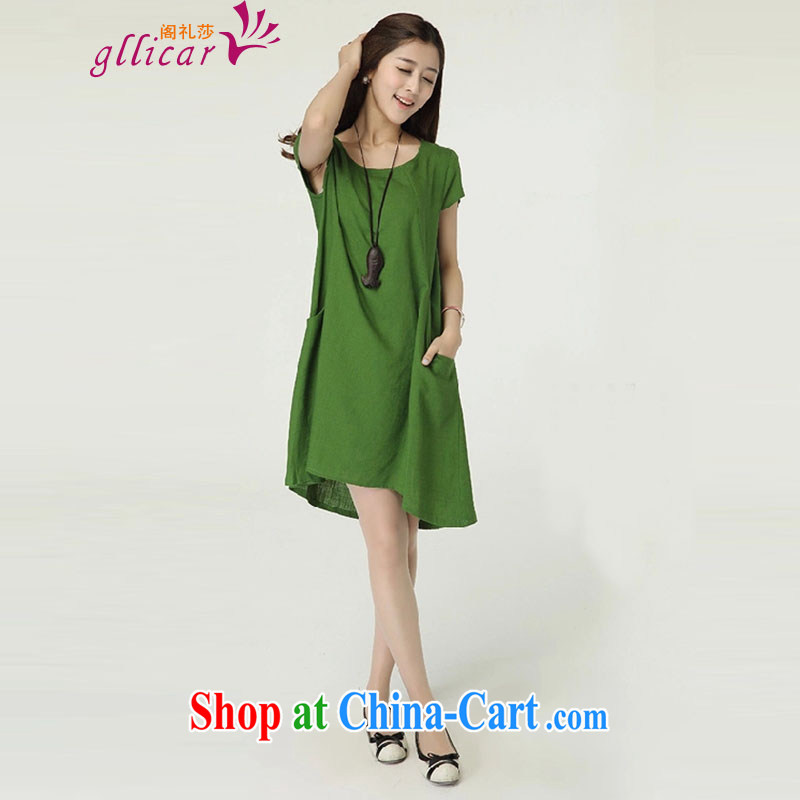 ge lai Windsor summer 2015 New, and indeed increase, female loose linen dresses cotton the skirt LYC 032 green XXL