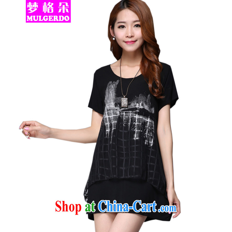 Let the flower 2015 summer new and stylish XL girls thick sister graphics thin female stamp duty short-sleeved thick people dress s 9008 black 2 XL