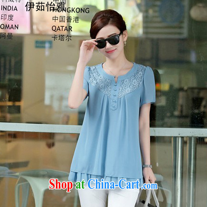 The Ju-Yee Nga larger female summer new Korean version thick MM graphics thin lace stitching double short-sleeved mother load snow woven shirts YZ 5283 light blue XXL