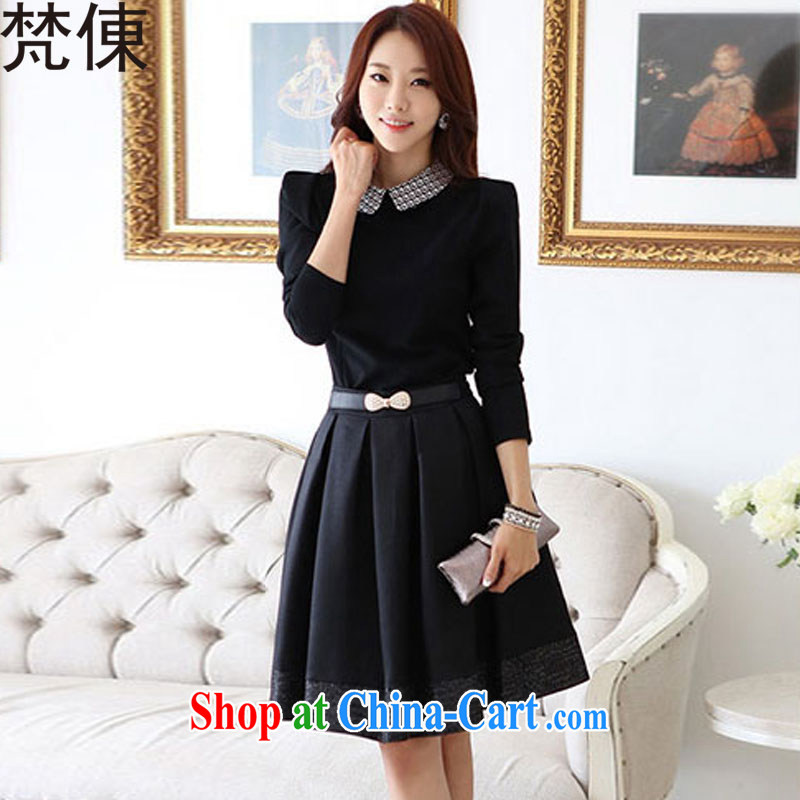 Van Gogh ? 2015 spring female new Korean edition dolls for cultivating aura long-sleeved dresses M 1151 photo color L