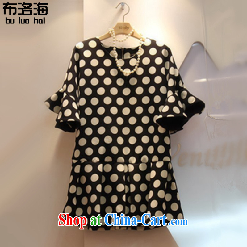 The sea 2015 summer new, larger female loose stretch flouncing graphics thin increase the fat short-sleeved wave 100 hem dresses women 9001 photo color XXXL