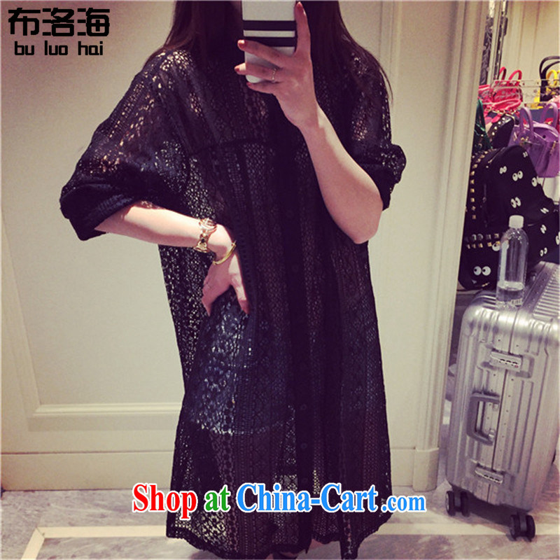 The sea 2015 summer new, larger female, long Openwork lace skirt and indeed the long-sleeved T-shirt dresses women thin jacket 9005 black XXXL